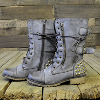 Harley Studded Brown Combat Military Boots