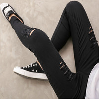 Womens 2015 Spring Summer New Fashion High Quality Woven Cotton Hole Ripped Jeans Leggings Pants Gothic Wash Leggings For Women