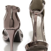 On My Level Pewter T Strap High Heel Sandals