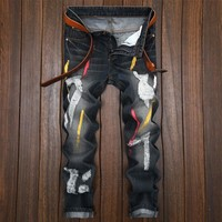 Ripped Holes Strong Character Slim Jeans [1922679341149]