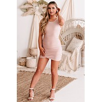 Mona Ruched Open Back Bodycon Dress (Mauve)
