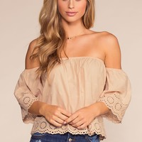 Just A Moment Off The Shoulder Embroidered Top - Taupe