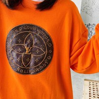 LV Louis Vuitton New fashion embroidery letter long sleeve top sweater Orange
