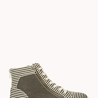 FOREVER 21 Fresh Striped High-Tops Grey