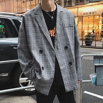 Grey Plaid Double Breasted Jacket