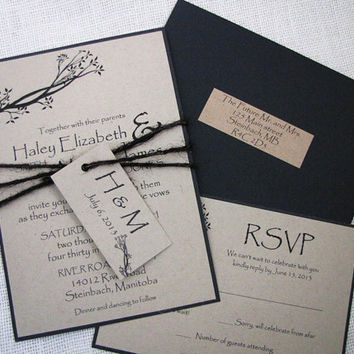 Rustic Tree Twine Tag Kraft wedding Invitation Tied with Black Burlap Twine Deposit Listing