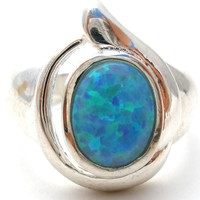 Sterling Silver Ring with Opal Gemstone Size 7