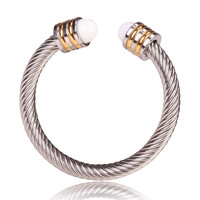 David Yurman Style Cable Bracelet Gold & Silver with White Crystal Gem