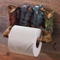 Country Western Cowboy Boots Toilet Paper Holder Bathroom Storage Home Decor