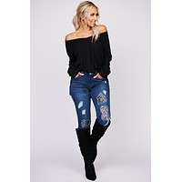 Casual Conversations Long Sleeve Knit Top (Black)
