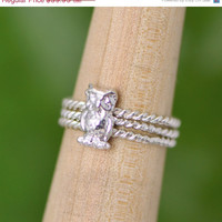 Labor Day Sale Owl Ring Set - Stacker Rings Set - Bird Rings - Owl Jewelry - Silver Owl - Bird Jewelry - Silver Owl