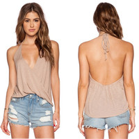 Sexy Women Summer V Neck Sleeveless Loose Casual Shirt Backless Tank Tops Vest Blouse