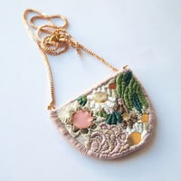 Flowers and algae, embroidered necklace