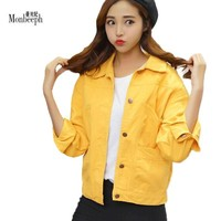 Trendy Women Denim Army Green yellow denim Jacket Fashion Ladies Spring Autumn Basic Loose jeans Jackets Coats Female Casual Outwear AT_94_13