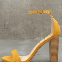 Taylor Mustard Yellow Suede Ankle Strap Heels