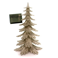 Christmas PLATINUM GLITTER TREE Plastic Holiday Sparkle Lo1853