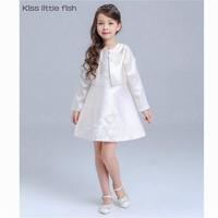 Kiss little fish Free shipping Original design Spring pretty flower girls  dress sets Autumn flower girl dresses Kids prom dress