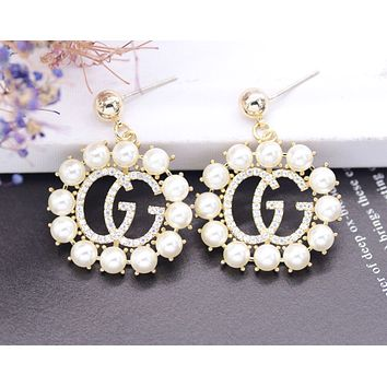 GUCCI new women's personality exaggerated inlaid zirconium G letter earrings Gold
