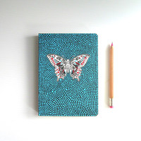 Butterfly Journal: Hand painted cover Red white and blue