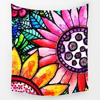Stained Glass Flowers Tapestry
