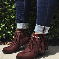 Life Is Good Fringe Ankle Boots - Brown