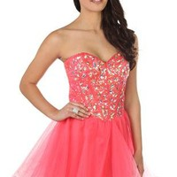 sequin and stone corset short prom dress with a line skirt - debshops.com