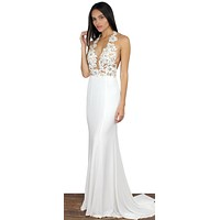 Evening Moon White Halter Gown