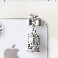 A sweet dream Bow and Carousel iPhone Earphone Plug. Cell Phone Charm. iPhone4, iPhone5, iPad, Samsung, iPhone Accessories. Free Shipping