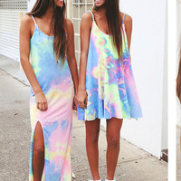 Tie Dye Side Slit Strap Maxi Dress