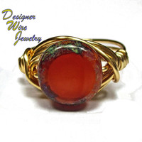 DWJ0240 Stunning Czech Tuscan Sun Gold Wire Wrapped Ring All Sizes