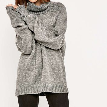 Light Before Dark Ribbed Chunky Roll Neck Jumper - Urban Outfitters