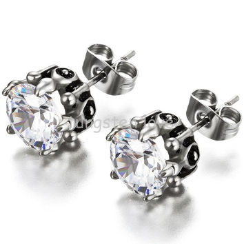 Hearts and Arrows Cubic Zirconia Stone Inlaly Unisex Hypoallergenic Stainless Steel Stud Earrings For Women Men (one pair)