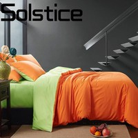 Solstice Home Textile long-staple cotton soft and comfortable solid color double bedding bed linen pillowcase quilt cover 3/4pcs