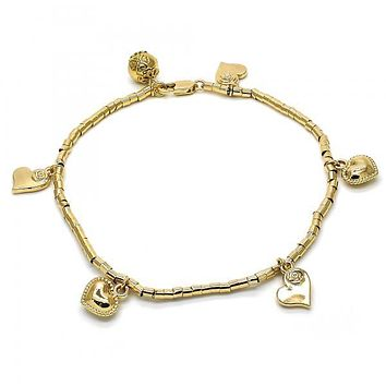 Gold Layered 03.179.0032.10 Charm Anklet , Heart and Flower Design, Polished Finish, Golden Tone