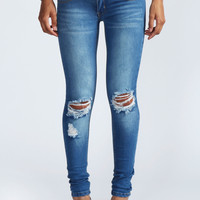Loren Distressed Rip Knee Skinny Jeans