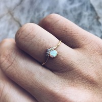Opal Crown Ring