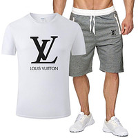 LV new tide brand solid color man wild sports suit two-piece white
