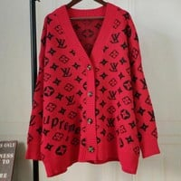 LV X Supreme Popular Women Casual Knit Coat Jacket Cardigan Sweatshirt Black