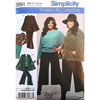Womens Cape Top Gauchos Skirt Simplicity 3991 Sewing Pattern Size 18-24W c1620