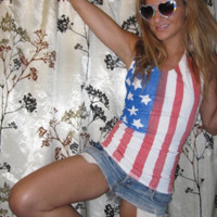 fitted American flag tie back tank top