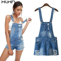 ONETOW Womens Jumpsuit Denim Overalls 2017 Summer Jumpsuits Rompers Casual Strap Hole Ripped Pockets Shorts Jeans Pocket Coverall AI142