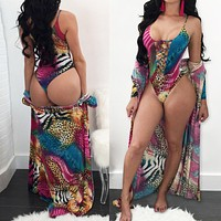 Sexy bandage color one-piece swimsuit cover up two-piece women's clothing