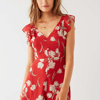 UO Ruffle Sleeve V-Neck Romper | Urban Outfitters