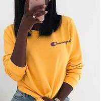 Champion Trending Women Men Embroidery Long Sleeve Sweater Pullover Top Yellow I