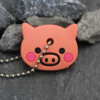 Pig Key Cover, Piglet Keychain, Rubber Key Topper, Piggy Key Fob, Animal Key Chain, Gift for Her, Girlfriend Gift, Gift for Girlfriend