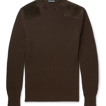 Tom Ford - Suede-Panelled Merino Wool and Cashmere-Blend Sweater