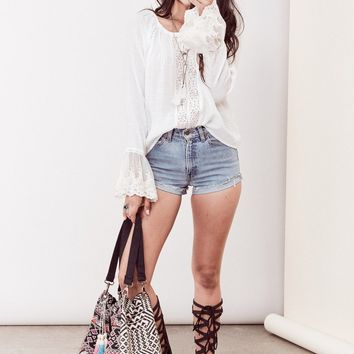 ARIA LACE BELL SLEEVE TOP - OFF WHITE
