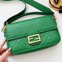 Fendi New fashion more letter leather shoulder bag crossbody bag handbag Green