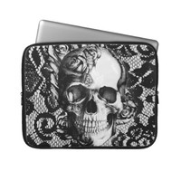 Black and white roses and lace skull laptop computer sleeve