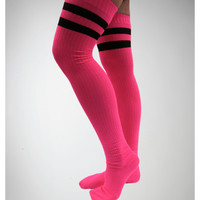 Hot Pink with Black Athletic Stripe Over the Knee Socks